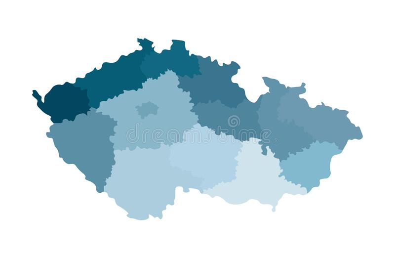 Vector isolated illustration of simplified administrative map of Czech Republic.  Colorful blue silhouettes vector illustration
