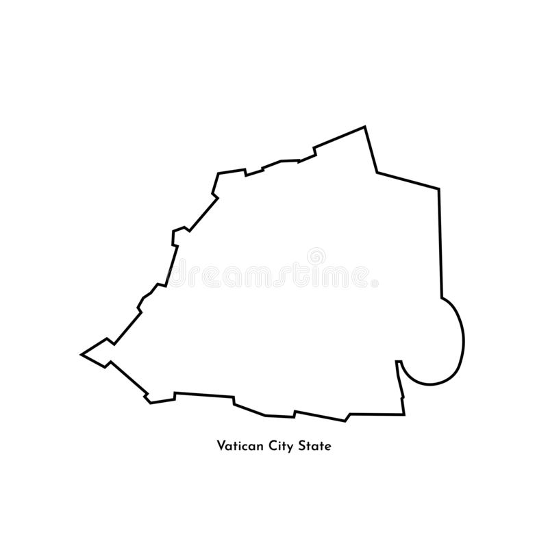 Basic RGB. Vector isolated illustration of simplified political map of South Europe state - Vatican City State. Black line silhouette. White background royalty free illustration