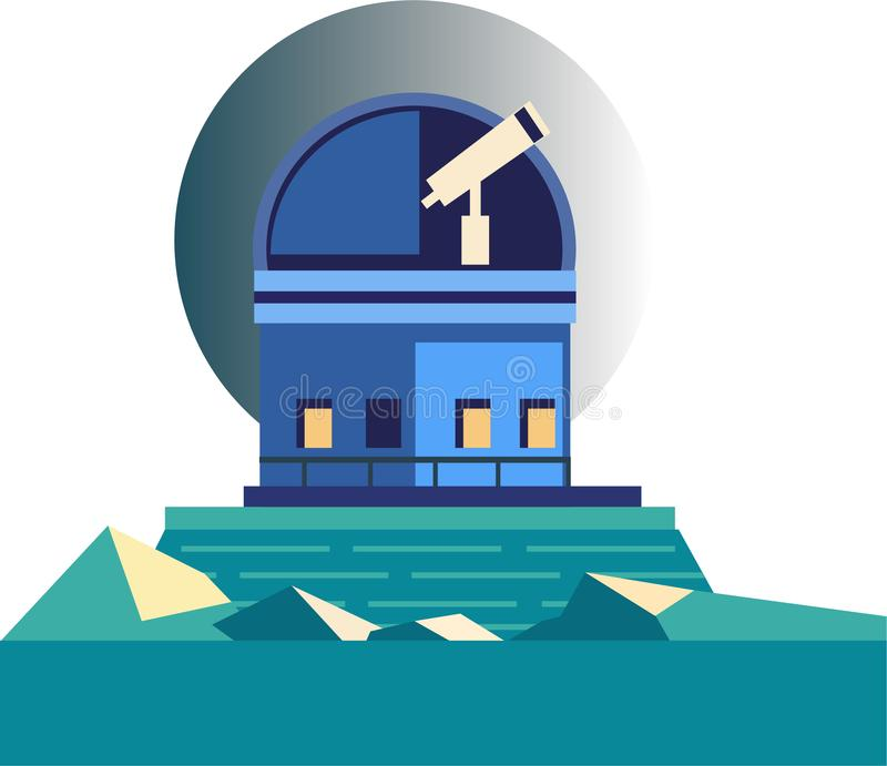 Vector isolated image of a planetarium telescope. Minimalistic vector picture in cartoon style, one telescope in the planetarium looks at the night sky vector illustration
