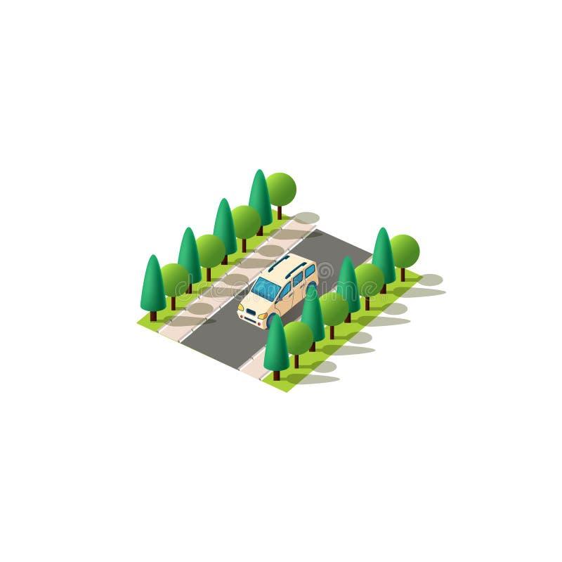 Isometric front left view minivan stock illustration