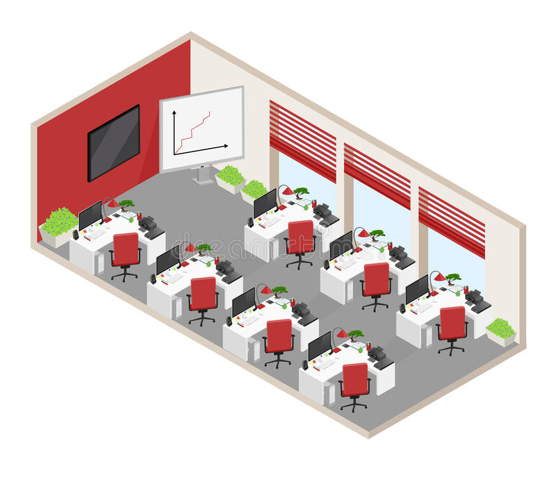 Vector isolated isometric open-plan office with objects and furn stock illustration