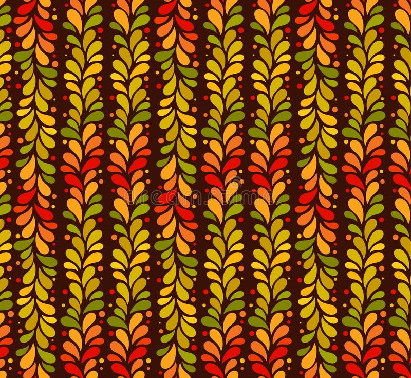 Vector isolated seamless autumn colored vertical line of leaves background. September, october, november simple pattern stock illustration
