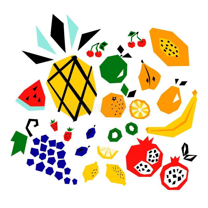 Vector isolated set of cutout fruit. Pineapple, apple, oranges, kiwi, pears, lemons, cherries, strawberries. Vector illustration vector illustration