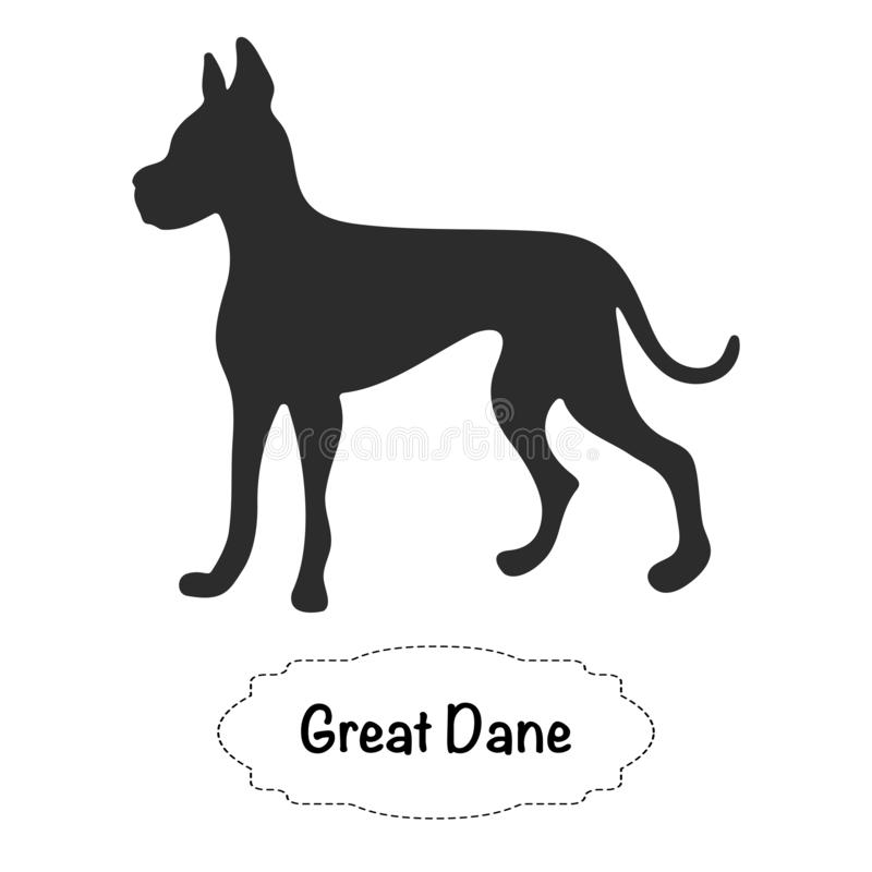 Vector isolated silhouette of Great Dane dog icon symbol image. Vector isolated silhouette of Great Dane on white background, Dog icon symbol image vector illustration