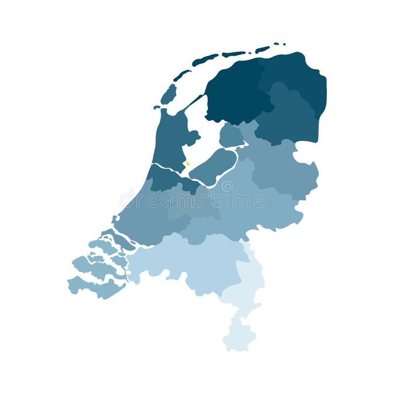 Vector isolated simplified illustration icon with blue silhouettes of Netherlands Holland provinces. Administrative divisions stock illustration