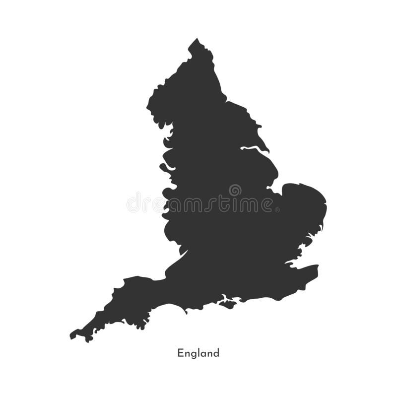 Vector isolated simplified illustration map. Grey silhouette of England United Kingdom of Great Britain and Northern Ireland. vector illustration
