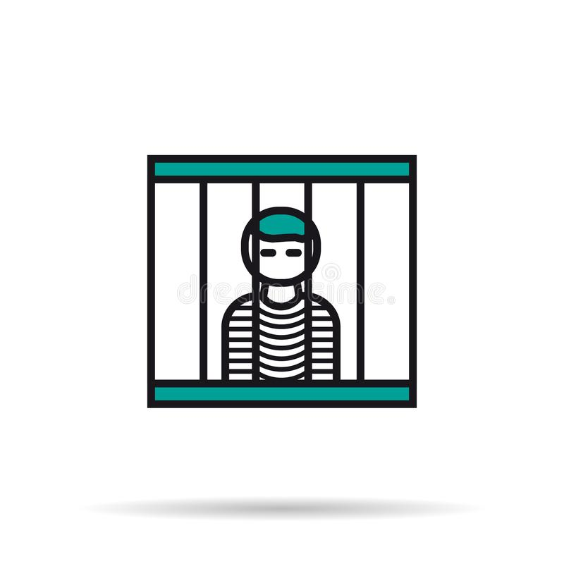 Linear Icon - prisoner in the cell. Vector isolated thin line icon of prisoner in the cell on white background. Linear web pictogram royalty free illustration