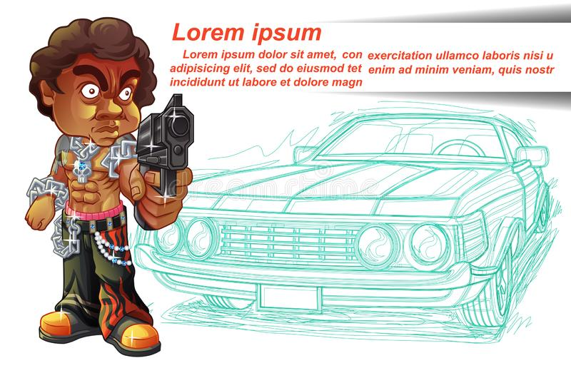 Vector isolated thug is carrying gun with his vintage car. vector illustration