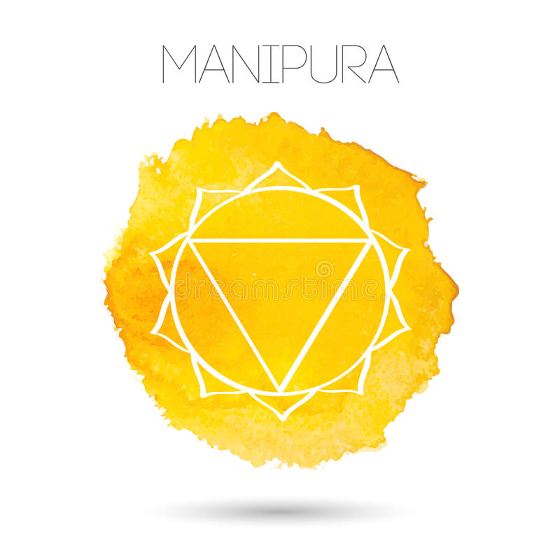 Vector isolated on white background illustration of one of the seven chakras - Manipura. Watercolor painted texture. royalty free illustration