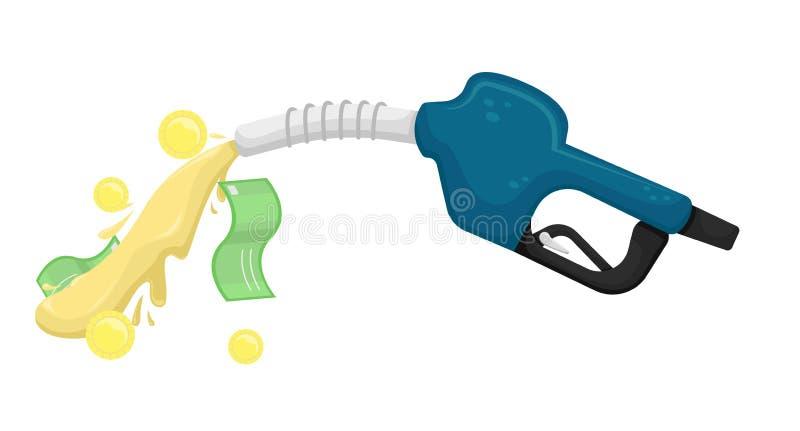 Vector isolierte Illustration mit einer Benzinpistole, aus der Kraftstoff mit Geld gießt lizenzfreie abbildung