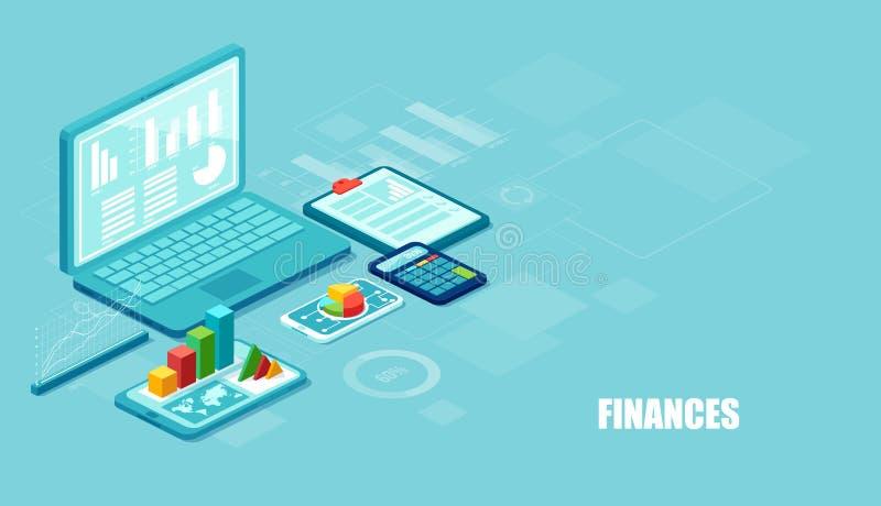 Vector isométrico de apps financieros y de servicios en el ordenador portátil y los artilugios modernos en fondo azul stock de ilustración