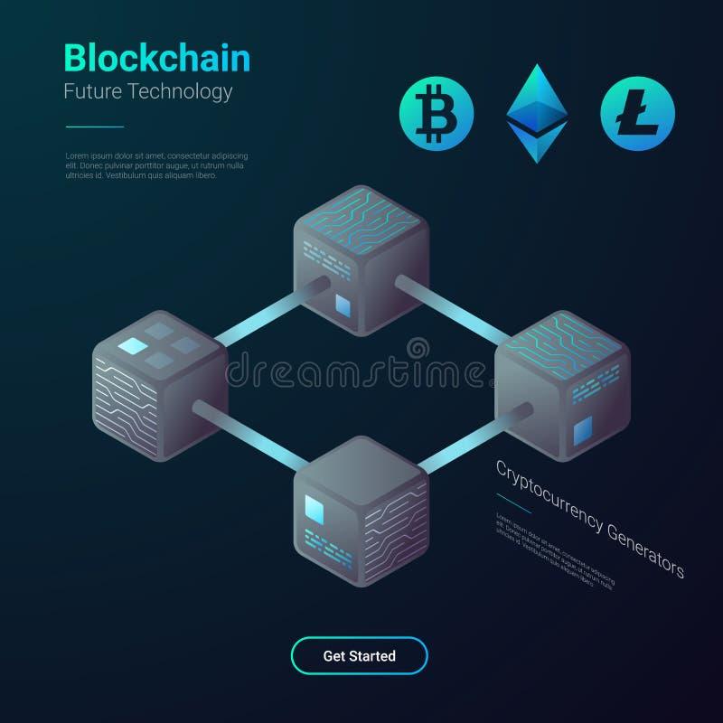 Vector isométrico de Blockchain Cryptocurrency Bitcoin ilustración del vector