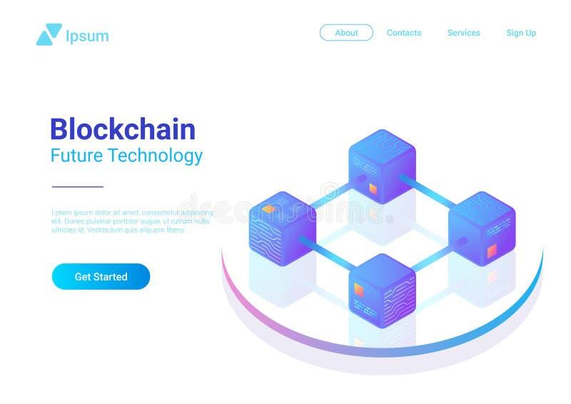 Vector isométrico de la tecnología de Blockchain Bloque chai stock de ilustración