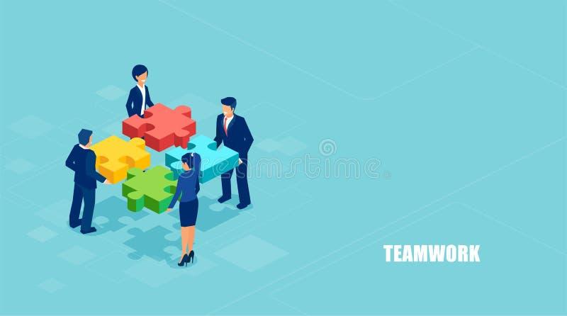 Vector isométrico de los hombres de negocios que solucionan un problema en el equipo aislado en fondo azul stock de ilustración