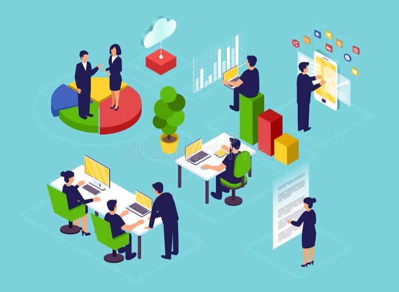 Vector isométrico de los hombres de negocios y de los clientes que obran recíprocamente en el lugar de trabajo libre illustration