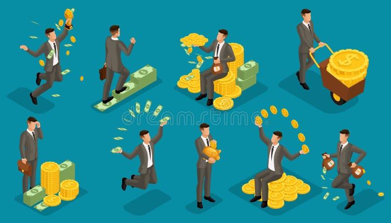 Vector isométrico de moda de la gente, accesorios del dinero de los hombres de negocios 3d, escena con el hombre de negocios jove stock de ilustración
