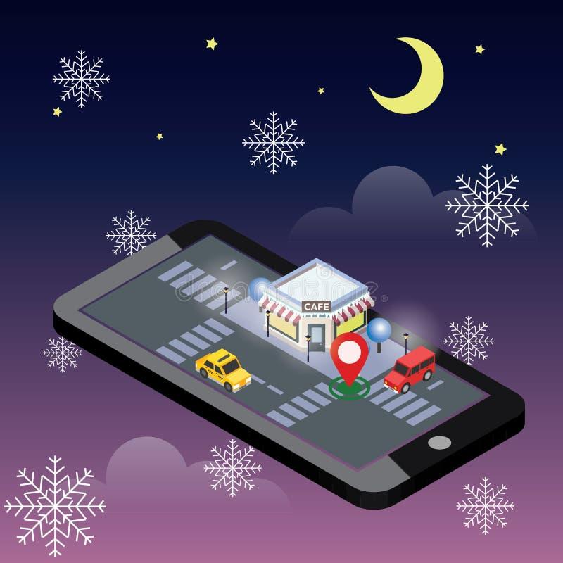 Vector isométrico del café acogedor Noche del invierno de la nieve La Navidad o Noche Vieja Edificio del restaurante con el estac libre illustration