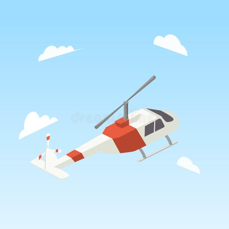 Vector isométrico del color blanco y rojo del helicóptero stock de ilustración