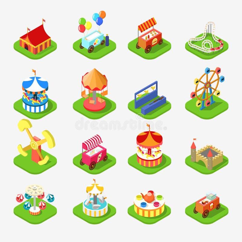 Vector isométrico del icono 3d del parque del entretenimiento de la atracción del carrusel stock de ilustración