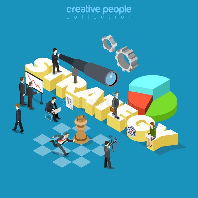 Vector isométrico plano 3d de la estrategia corporativa de la empresa de negocios stock de ilustración