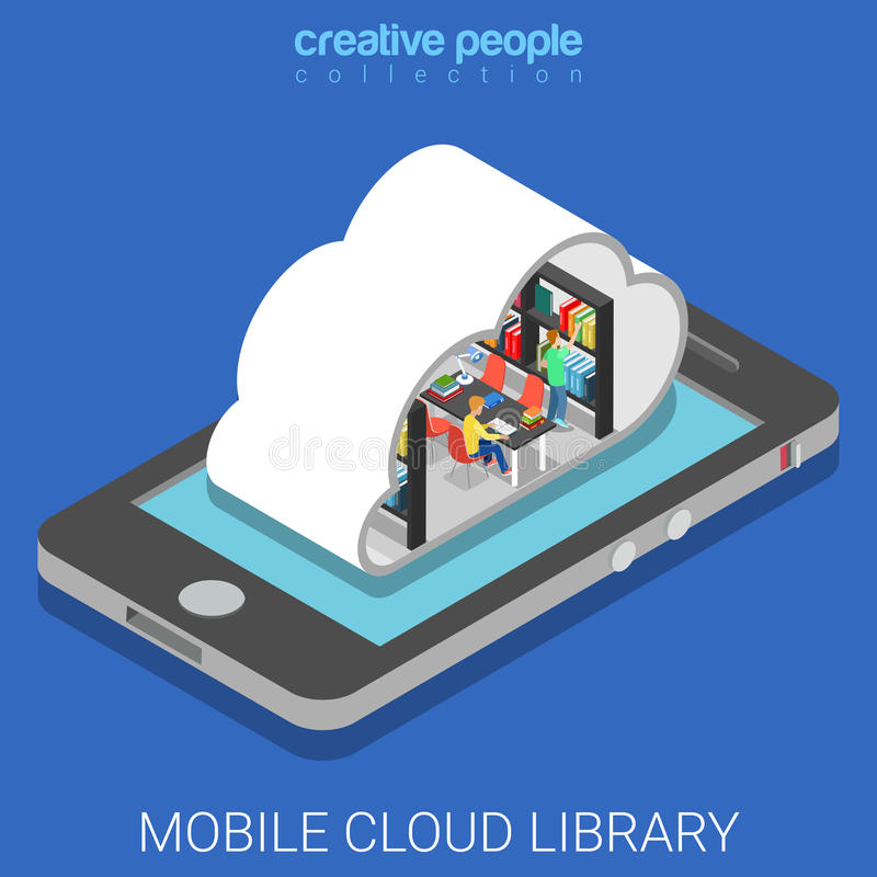 Vector isométrico plano 3d de la nube de la educación móvil de la biblioteca ilustración del vector