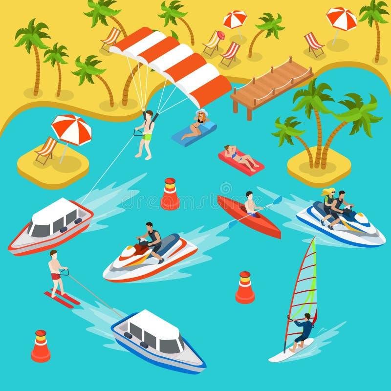 Vector isométrico plano 3d de la resaca del mar de las vacaciones del complejo playero del viaje stock de ilustración