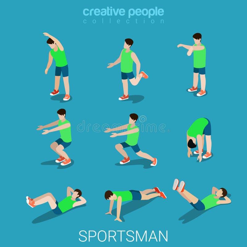 Vector isométrico plano 3d del deporte de los deportistas del atleta de sexo masculino del ejercicio ilustración del vector