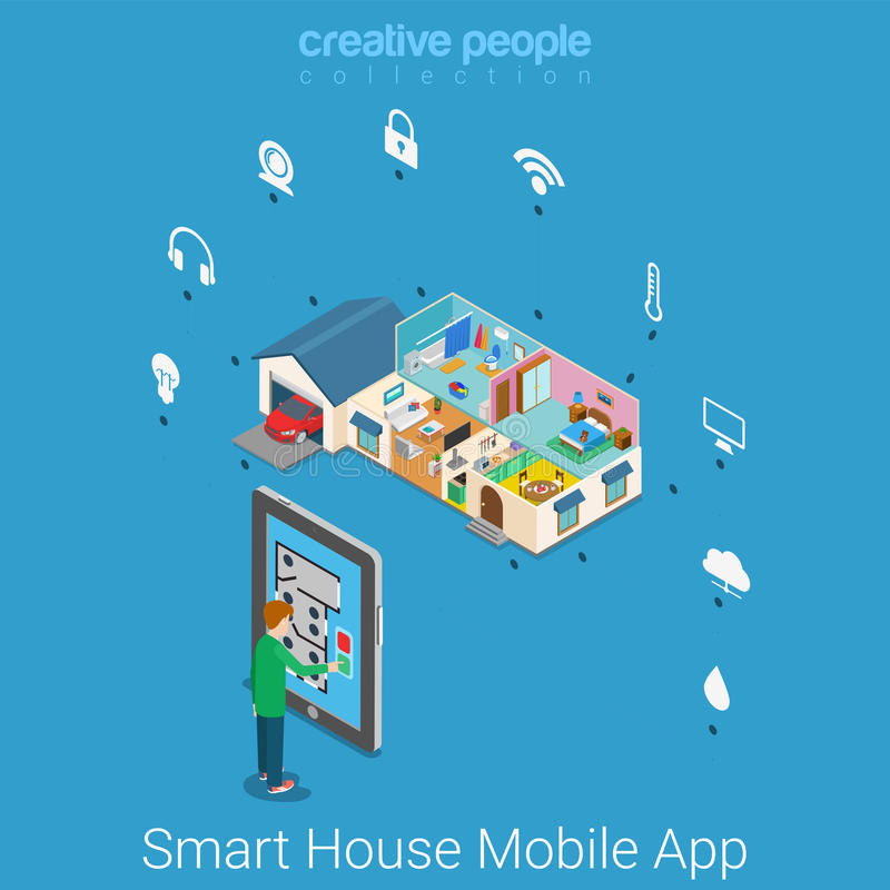 Vector isométrico plano de la casa de la tecnología elegante de la aplicación móvil libre illustration