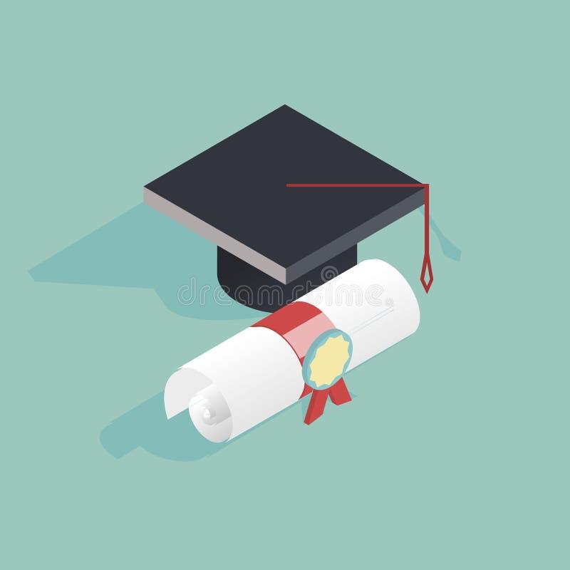 Vector isométrico plano de la educación 3d con el casquillo graduado libre illustration