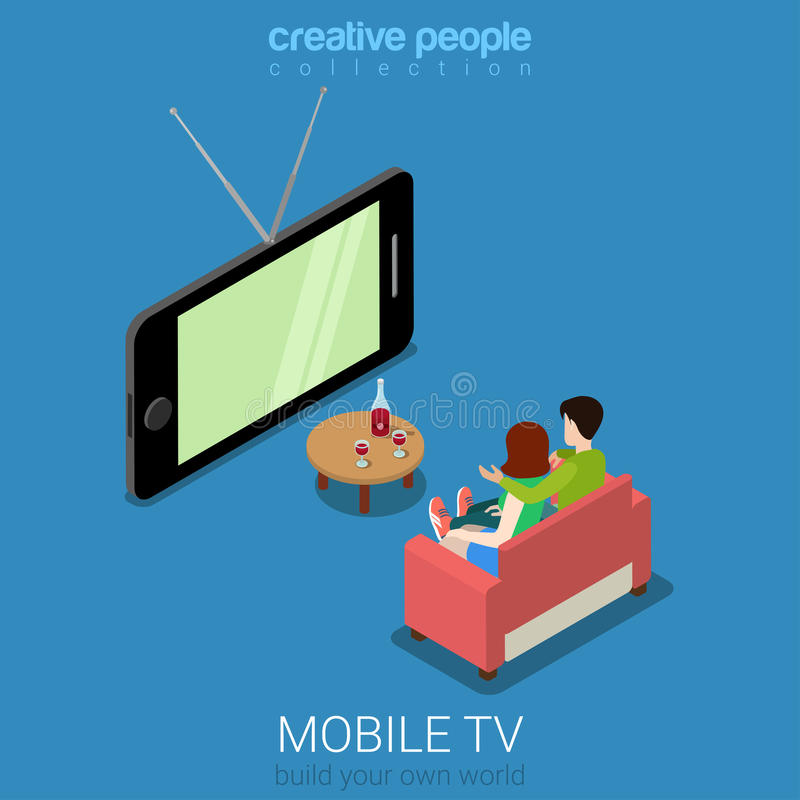 Vector isométrico plano de observación móvil del smartphone de la televisión de la TV stock de ilustración