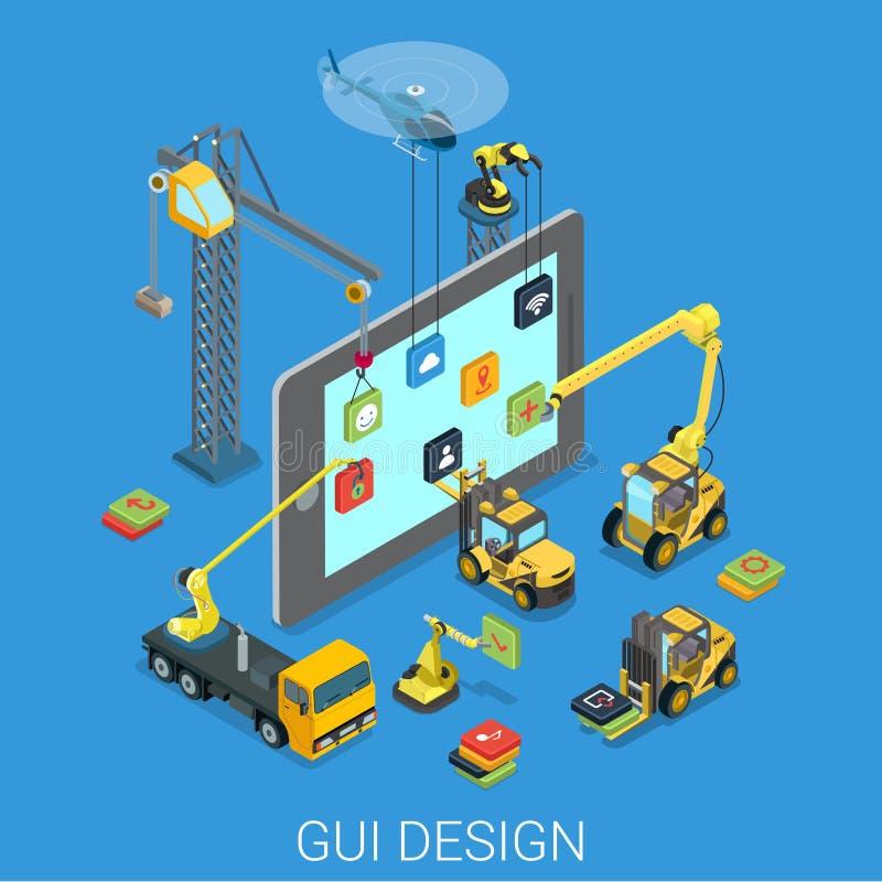 Vector isométrico plano del app de la interfaz de usuario móvil del diseño UI UX del GUI stock de ilustración