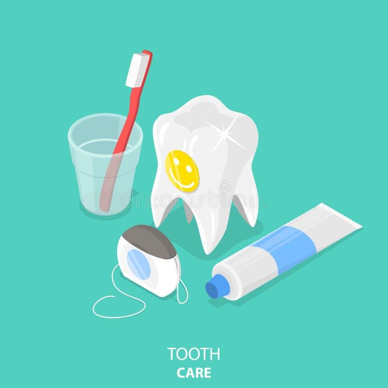 Vector isométrico plano del cuidado del diente stock de ilustración