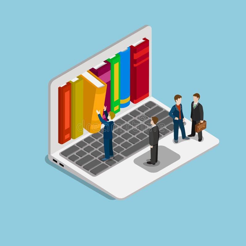 Vector isométrico plano del curso de la educación de la biblioteca en línea del conocimiento stock de ilustración