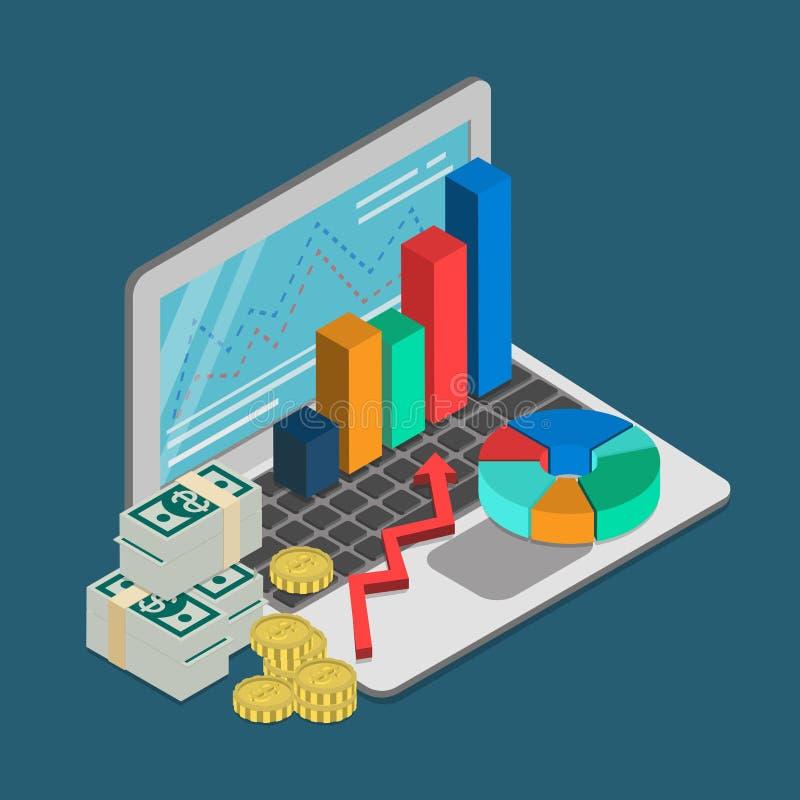 Vector isométrico plano del diagrama de la contabilidad del préstamo empresarial de las finanzas stock de ilustración