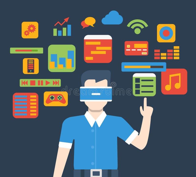 Vector isométrico plano del uso de cristal del interfaz de la realidad virtual de VR ilustración del vector