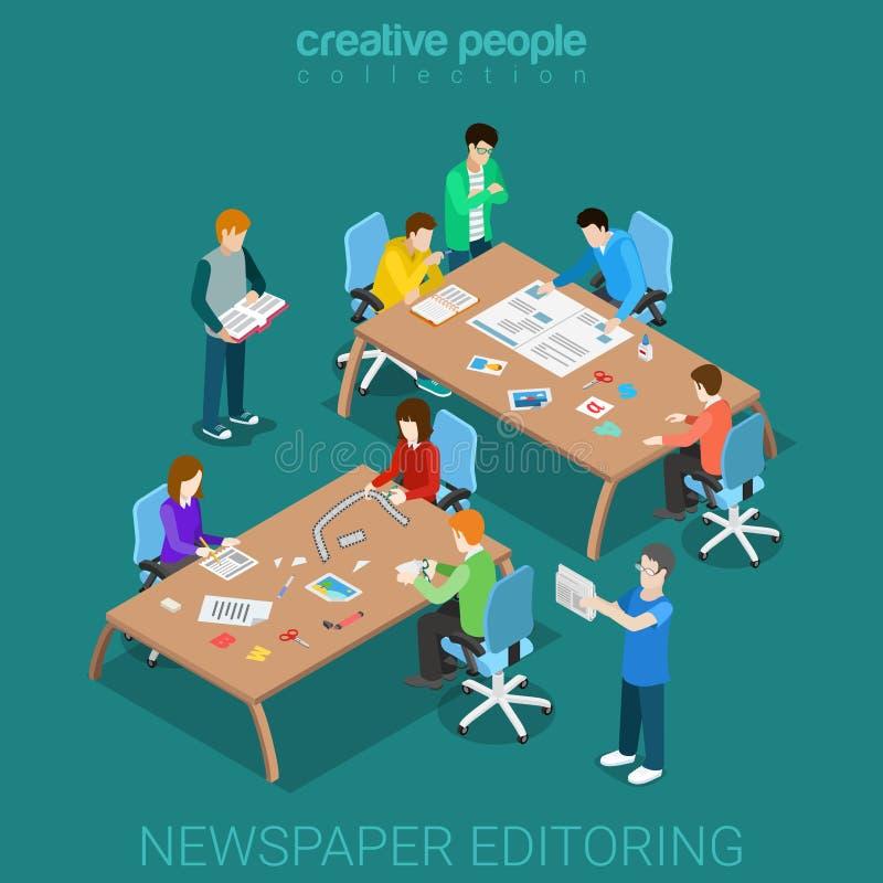 Vector isométrico plano editoring 3d del medios sitio del trabajo en equipo del periódico stock de ilustración