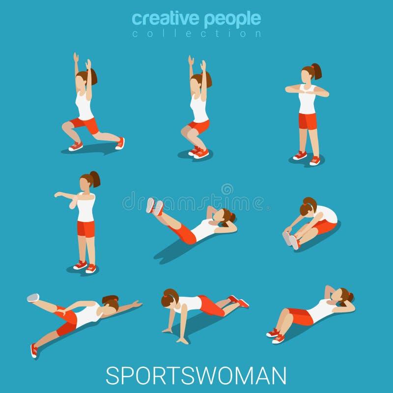 Vector isométrico plano femenino del ejercicio del deporte del atleta de las deportistas ilustración del vector