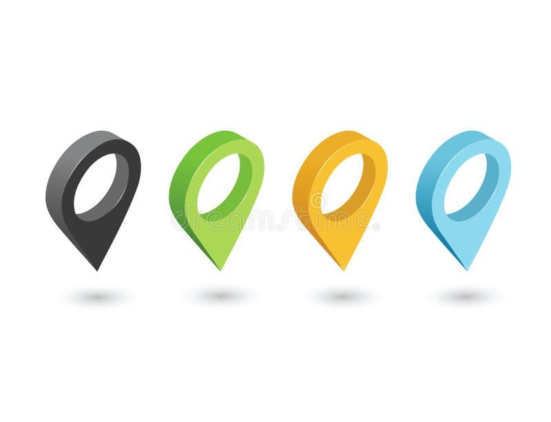 Vector isométrico sentado de iconos del perno, muestra del indicador del geotag del mapa libre illustration