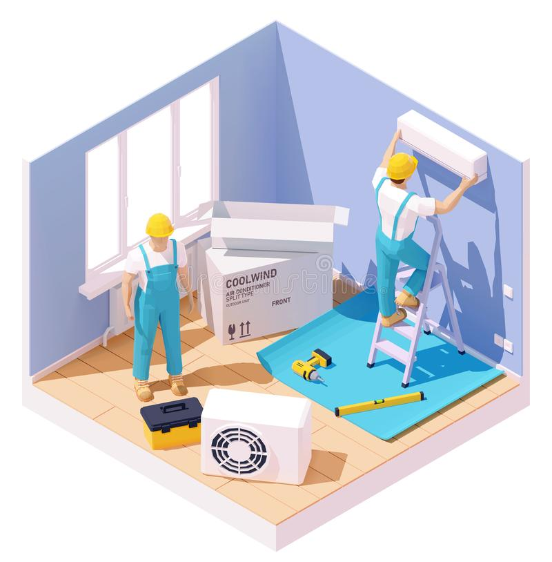 Vector isometric air conditioner installation. Vector isometric technicians installing or fixing home air conditioner. Workers with tools in the room providing vector illustration