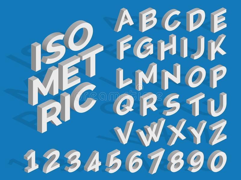 Vector isometric alphabet and numbers. Funky 3d font stock illustration