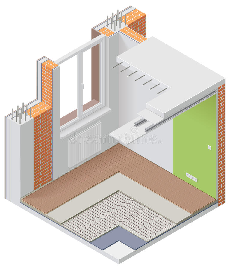 Download Vector Isometric Apartment Cutaway Icon Stock Vector - Illustration of cutaway, insulation: 24649799