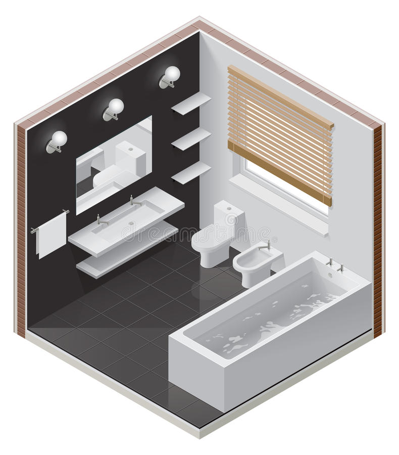 Vector isometric bathroom icon. Detailed isometric cutaway icon representing modern bathroom vector illustration