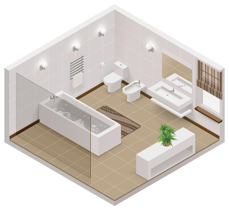 Free Vector Isometric Bathroom Icon Royalty Free Stock Photography - 33475247