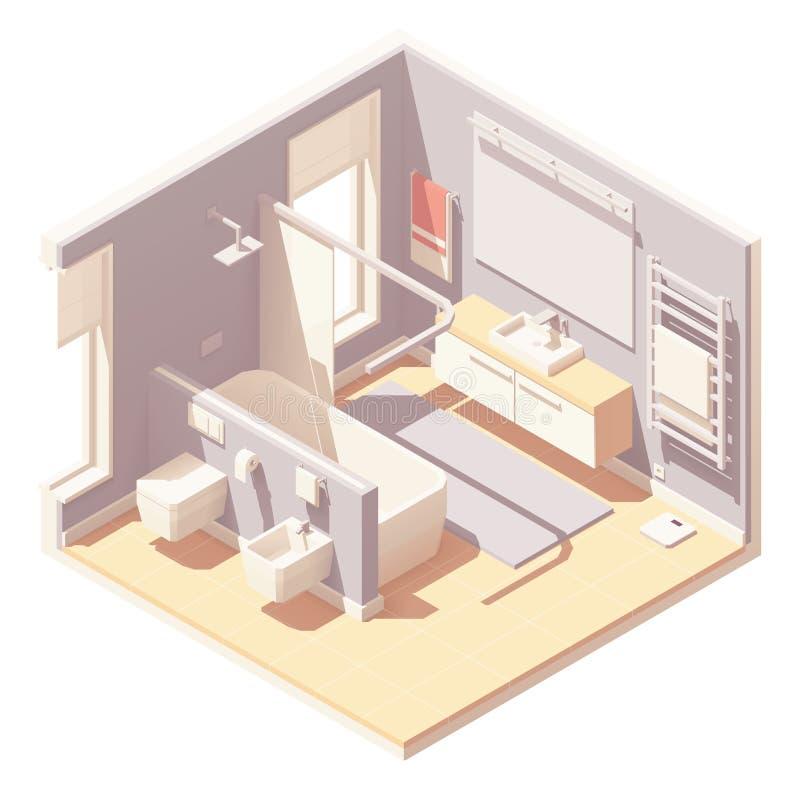 Vector isometric bathroom interior stock illustration