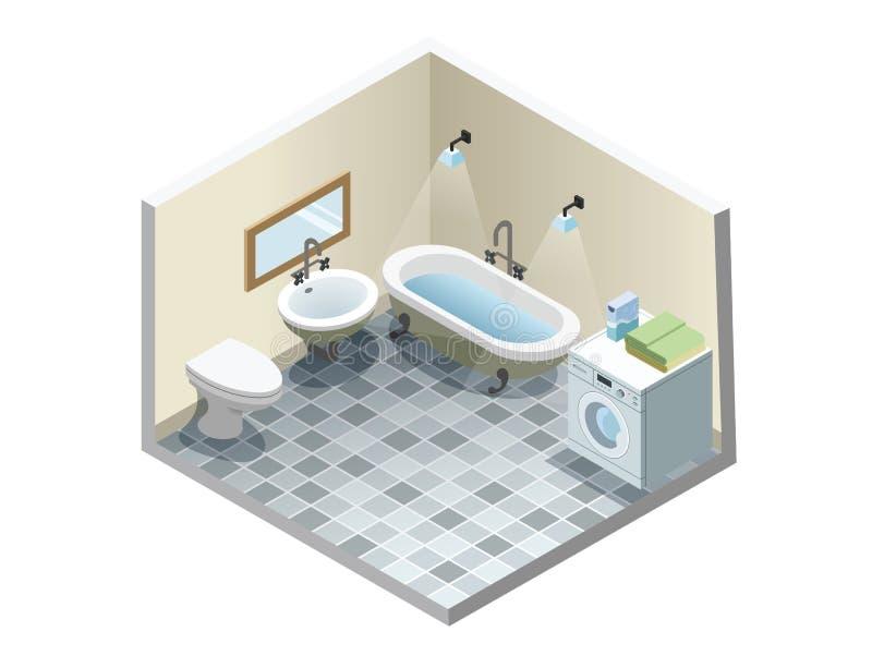 Vector isometric bathroom, set of retro vintage bath furniture icons royalty free stock photography