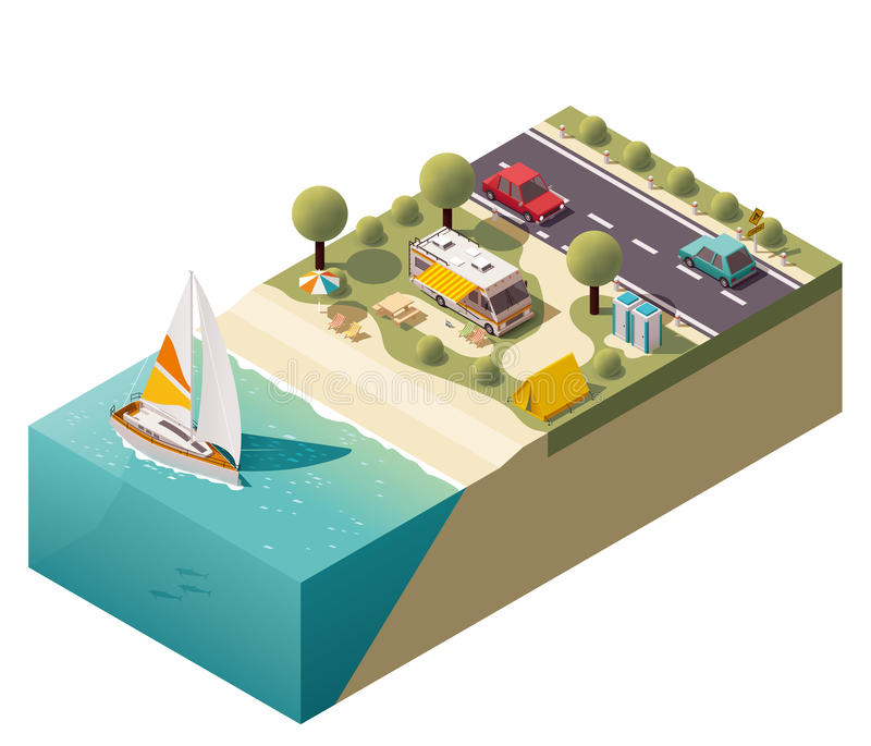 Vector isometric beach camping. Isometric campsite near the coast royalty free illustration