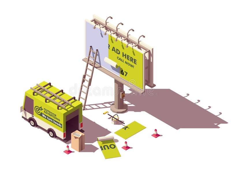 Vector isometric billboard fixing. Vector isometric low poly billboard advertising installation illustration, includes billboard, ladder, bucket with glue stock illustration