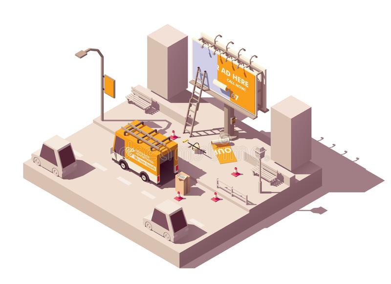 Vector isometric billboard fixing. Vector isometric low poly billboard advertising installation illustration, includes billboard, ladder, bucket with glue vector illustration
