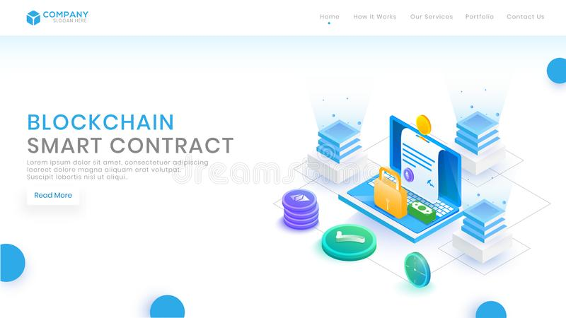 Vector isometric blockchain Contract concept with blocks, cubes and circuit board. Cryptocurrency, digital money, smart contracts vector illustration