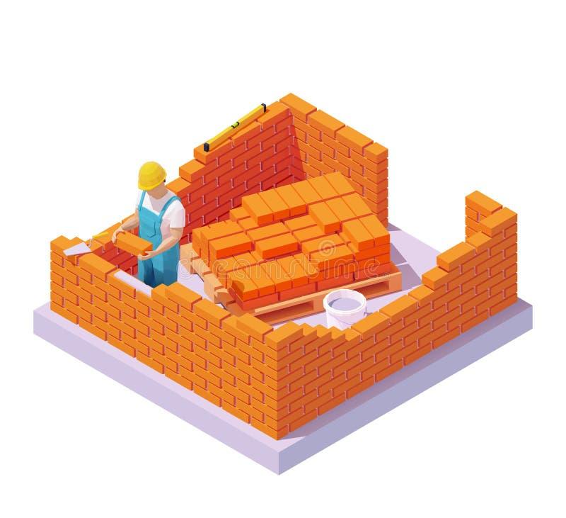 Vector isometric bricklayer building brick wall stock illustration